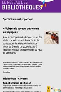 """Spectacle musical et poétique """"Voix (e) du voyage, des violons en bagage"""""""